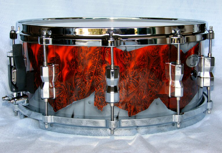 Custom-Red-Airbrushed-Snare-Drum 